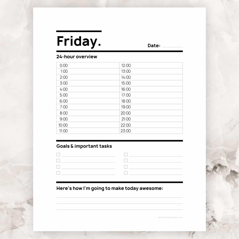 Friday 24-Hour To-Do List