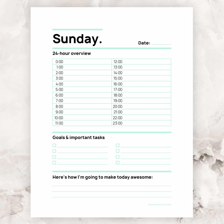 Sunday 24-Hour To-Do List