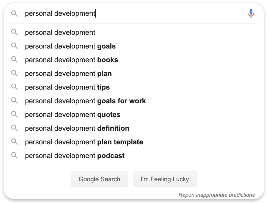 personal development search query