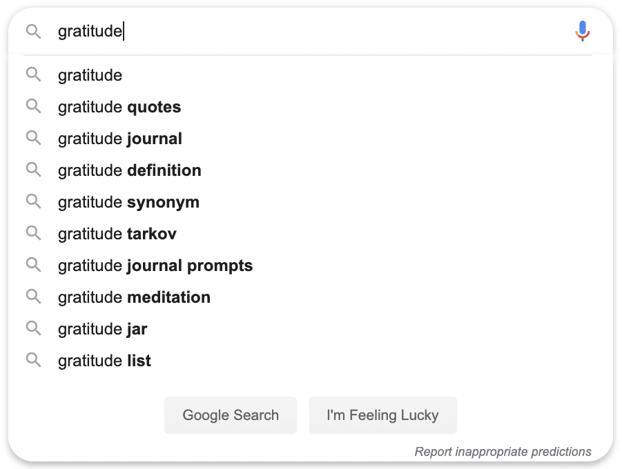 gratitude search query