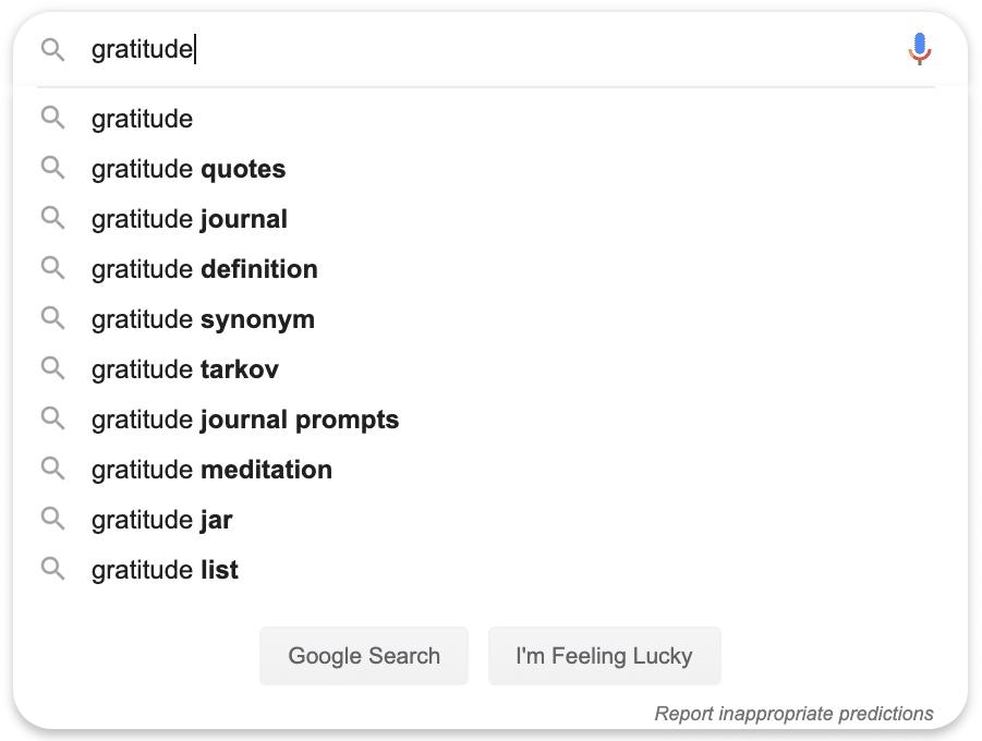 gratitude search query