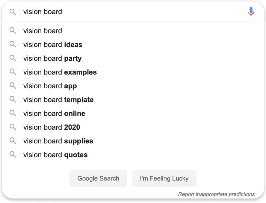vision board search query