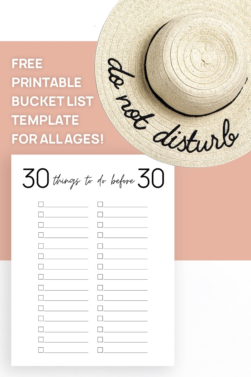 30 things to do before 30 bucket list template