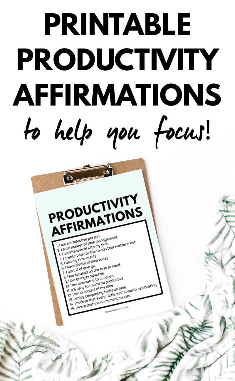 printable productivity affirmations