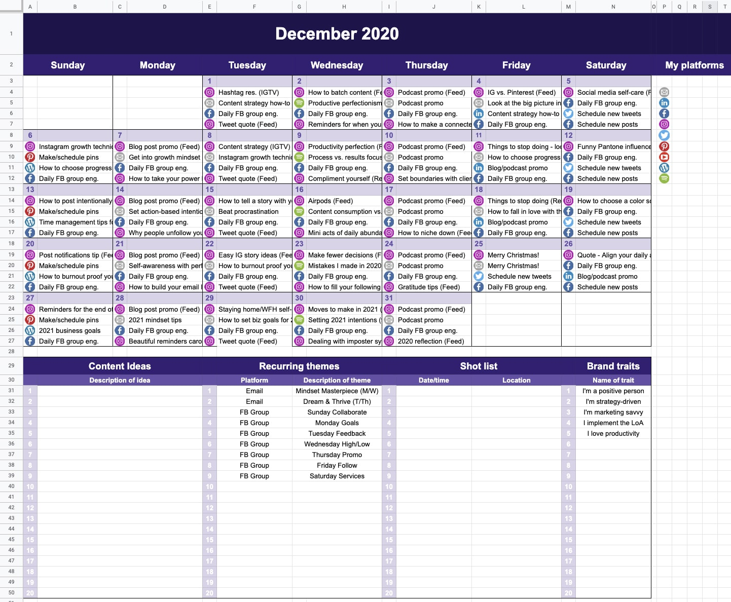 Completed content calendar